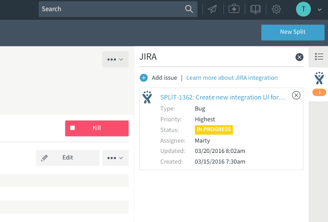 Screenshot of the Jira integration within the Split product.