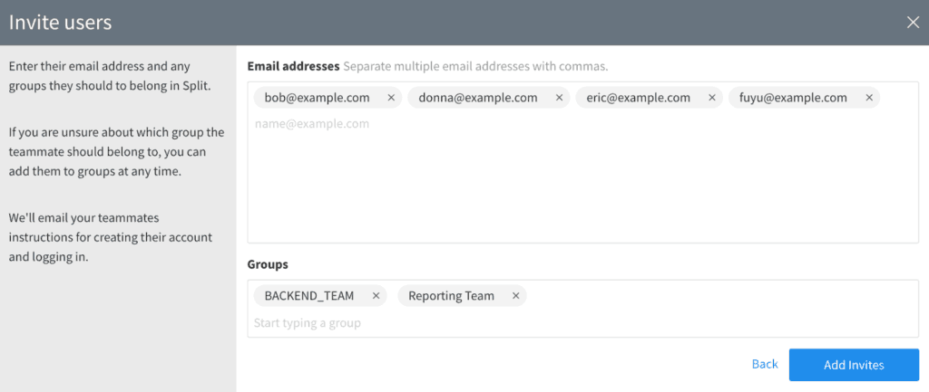 Screenshot of users being invited into the Split product.
