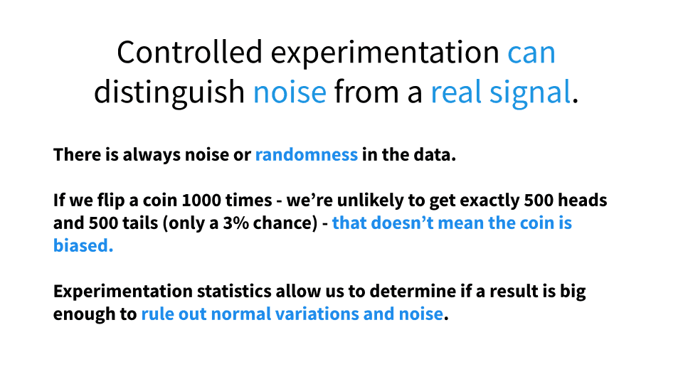 Controlled experimentation can distinguish noise from real signal.