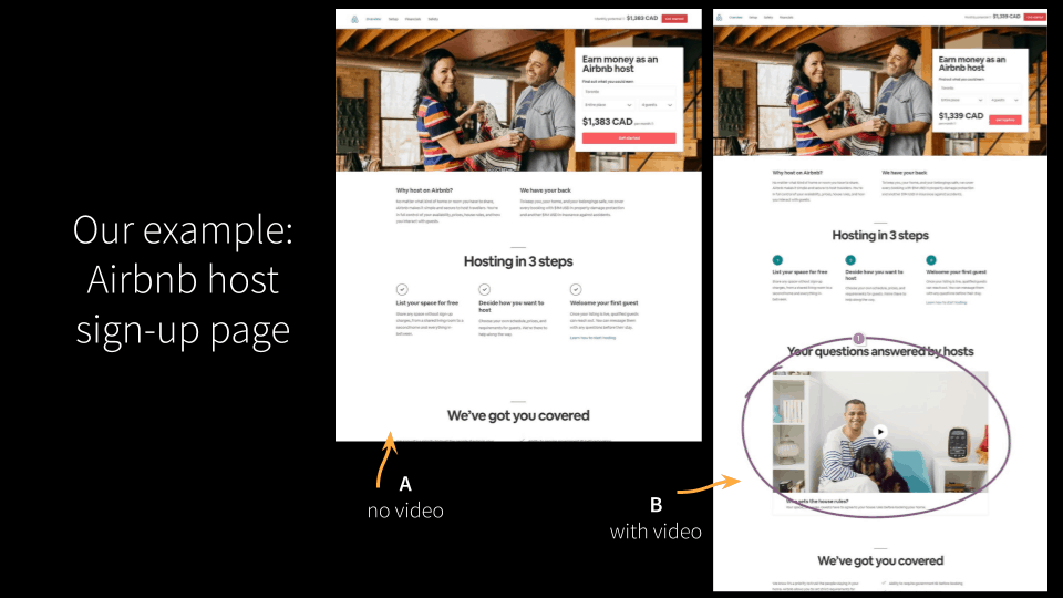 Airbnb test sign-up page A/B test example.