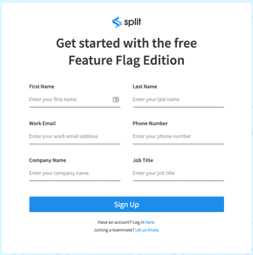 sign up for split.io free edition