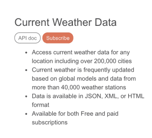 Open Weather Map Current Weather Data API used in spring boot app