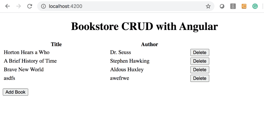 Bookstore CRUD With Angular screenshot, showing delete buttons