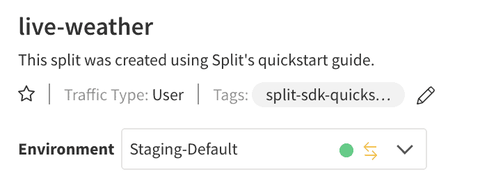 Split.io live-weather screenshot showing data flowing from Staging-Default Environment