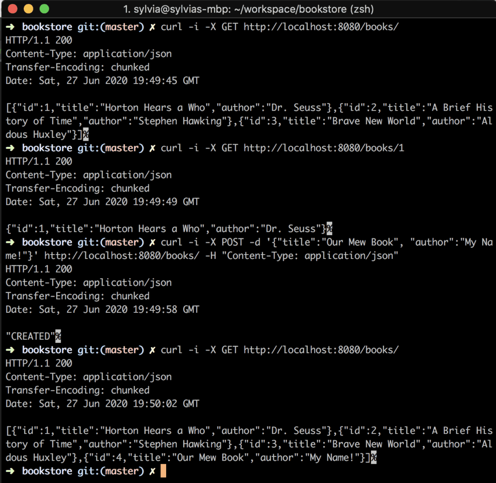 Screenshot of calling endpoints with curl commands.