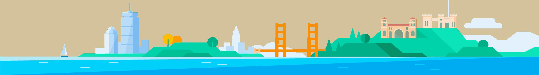 Illustration of landmarks in the three cities Split has offices.