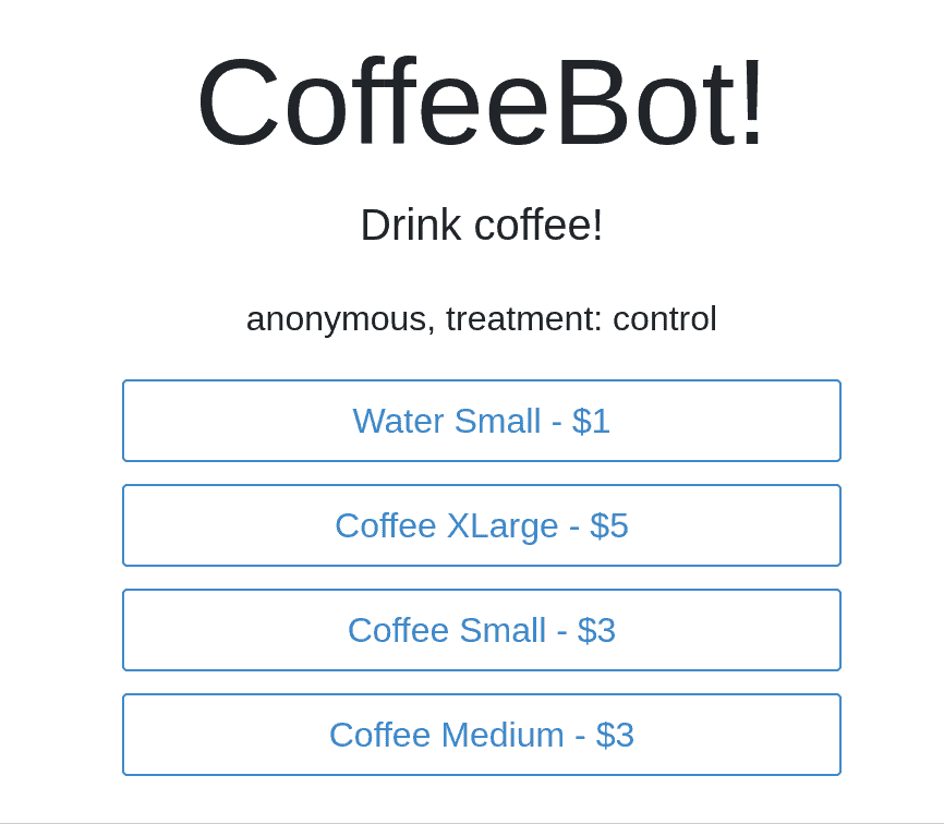 Vue.js tutorial CoffeeBot App anonymous mode