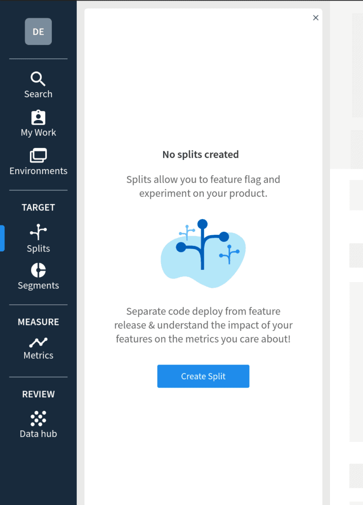 Split.io Dashboard View Splits Dialog