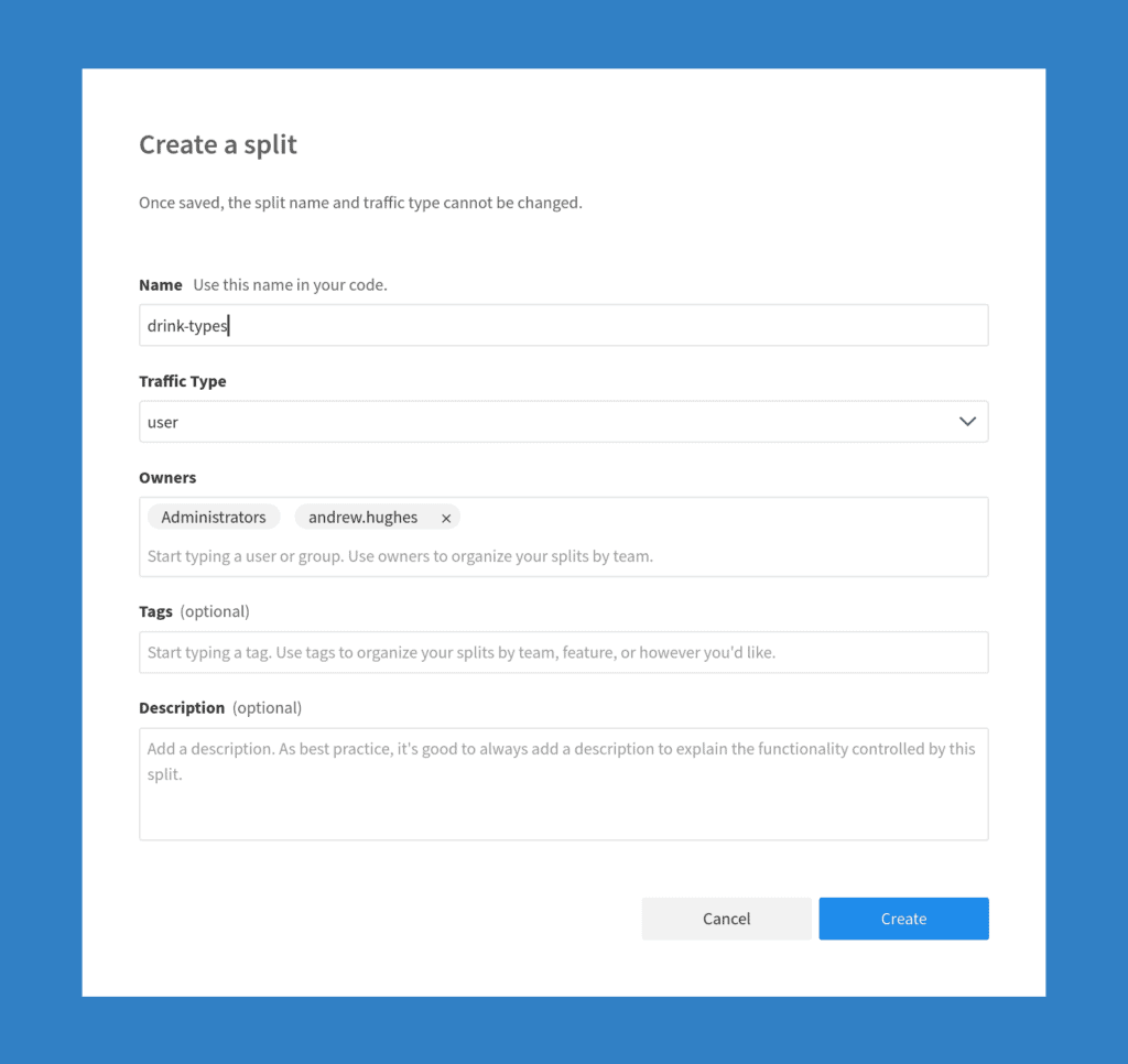 Split.io Create Split Dialog