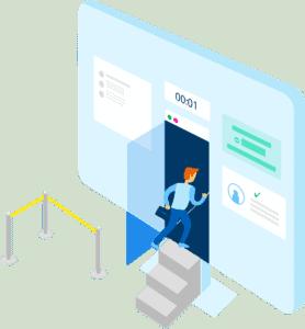 user entering the application through a computer monitor