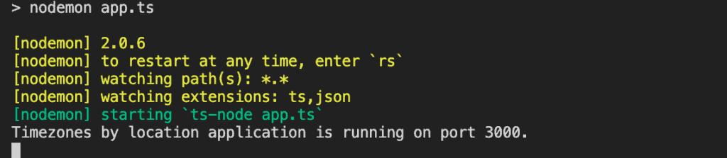 Node TypeScript tutorial screenshot: nodemon in terminal after npm run serve.