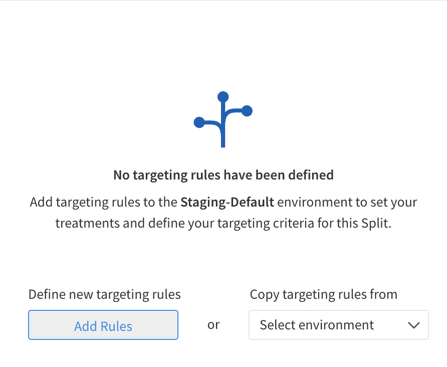 Node TypeScript tutorial screenshot: Adding targeting rules to the Staging environment.