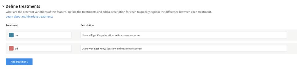 Node TypeScript tutorial: defining treatments in the Split UI.