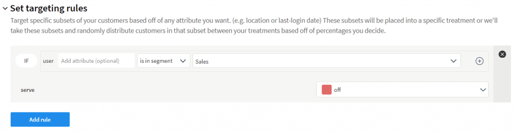 Image of the Set targeting rules section of a split and the Sales segment being set to off